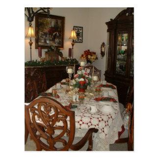 Elegant Christmas dinner table Postcard
