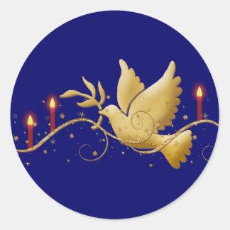 Elegant Christmas dove peace candles Round Sticker