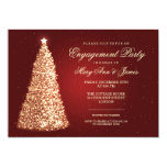 Elegant Christmas Engagement Party Gold Red Card