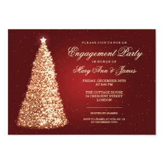 Elegant Christmas Engagement Party Gold Red 5x7 Paper Invitation Card