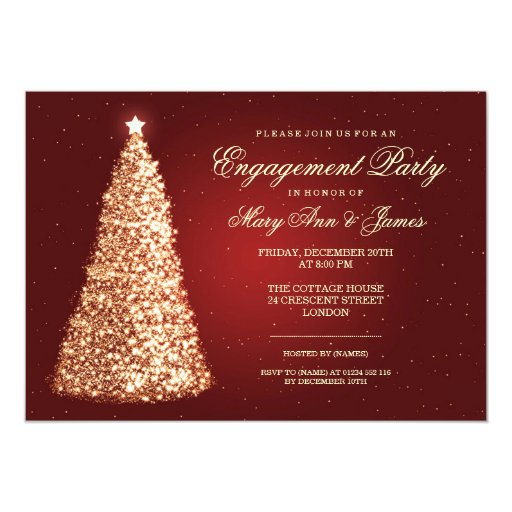 Elegant Christmas Engagement Party Gold Red Announcement  Zazzle
