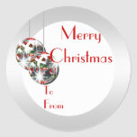 Elegant Christmas gift tag PERSONALIZE Classic Round Sticker