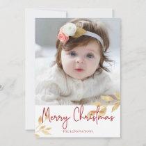 Elegant Christmas Gold Leaves   Holiday Photo