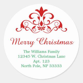 Elegant Christmas Green Red Swirl Design Round Classic Round Sticker