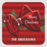 Elegant Christmas greeting PERSONALIZE Square Sticker