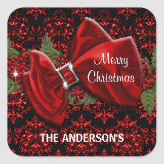 Elegant Christmas greeting PERSONALIZE Square Sticker