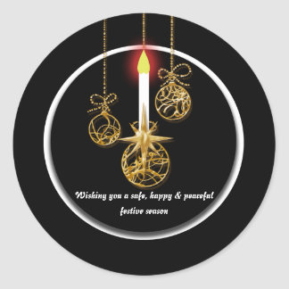 Elegant Christmas greeting Round Stickers