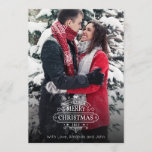 """Elegant Christmas Greetings Photo Card<br><div class=""""desc"""">This elegant Holiday / Christmas Card features an ornate lettering with the words &quot;Merry Christmas&quot; and a picture in the background. This design has a chic and vintage feel with a modern twist. Changeable background color on the back Complete the cards adding your names and year.</div>"""