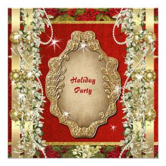 Elegant Christmas holiday party gold custom Custom Invitations
