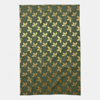 Elegant Christmas Holly Gold Pattern Towel