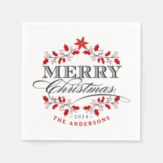 Elegant Christmas Holly Typography Paper Napkins