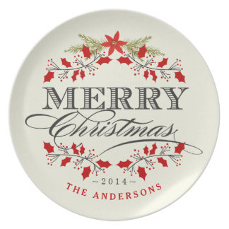 Elegant Christmas Holly Typography Plate