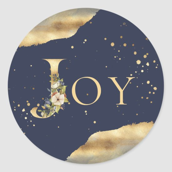 Elegant Christmas Joy Floral Gold Glitter Blue Classic Round Sticker