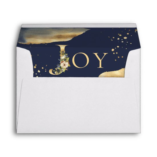 Elegant Christmas Joy Floral Gold Glitter Blue Envelope