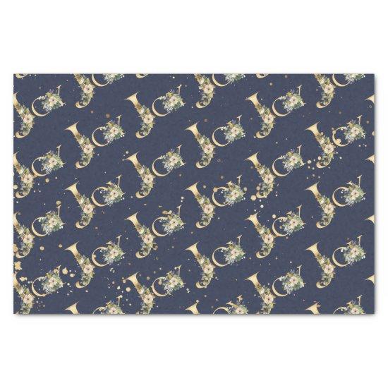 Elegant Christmas Joy Floral Gold Glitter Blue Tissue Paper