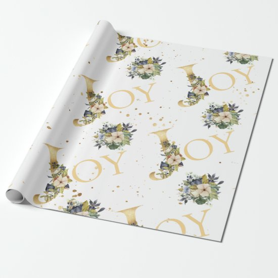 Elegant Christmas Joy Floral Gold Glitter Wrapping Paper