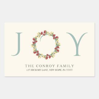 Elegant Christmas Joy Floral Wreath Return Address Rectangular Sticker