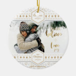 Elegant Christmas Love Photo Ceramic Ornament