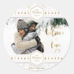 Elegant Christmas Love Photo Classic Round Sticker