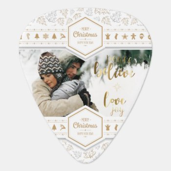 Elegant Christmas Love Photo Guitar Pick by ChristmaSpirit at Zazzle
