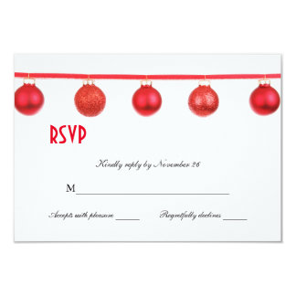 Elegant Christmas Ornaments Holiday Party RSVP 3.5x5 Paper Invitation Card