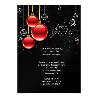 Elegant Christmas Ornaments on Black Party Invite