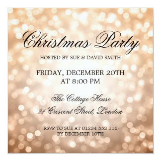 Elegant Christmas Party Copper Glitter Lights Card