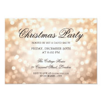 Elegant Christmas Party Copper Glitter Lights Invitation