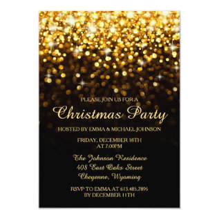 Elegant Christmas Party Gold Shimmering Lights Card at Zazzle
