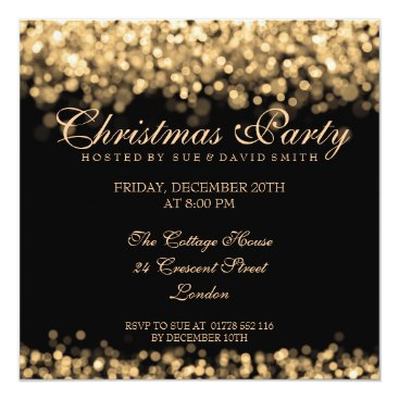 Christmas Themed Elegant Christmas Party Gold Shimmering Lights Card