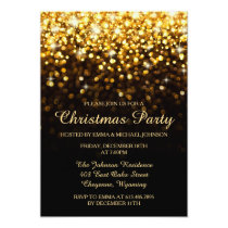 Elegant Christmas Party Gold Shimmering Lights Invitation