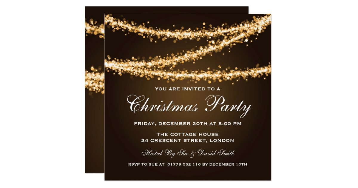 Elegant Christmas Party Gold String Lights Card Zazzle.com