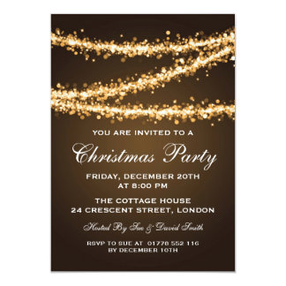 Elegant Christmas Party Gold String Lights Custom Invitation