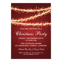 Elegant Christmas Party Gold String Lights Red Card