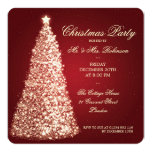 Elegant Christmas Party Gold Tree Red 5.25x5.25 Square Paper Invitation Card