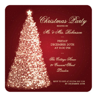 Elegant Christmas Party Gold Tree Red Custom Invitations