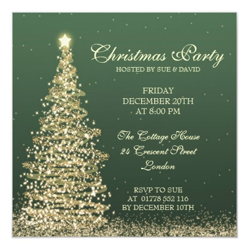 Elegant Christmas Party Green Invitation