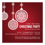 Elegant Christmas Party Ornaments Red Personalized Announcement