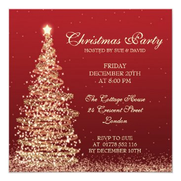 Christmas Themed Elegant Christmas Party Red Card