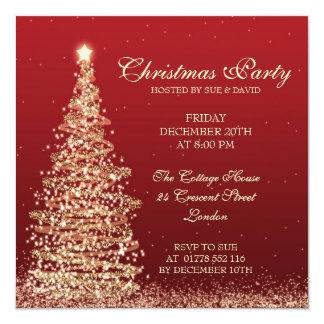 Elegant Christmas Party Red Invitation