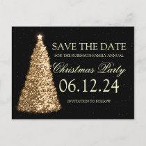 Elegant Christmas Party Save The Date Gold Black Announcement Postcard