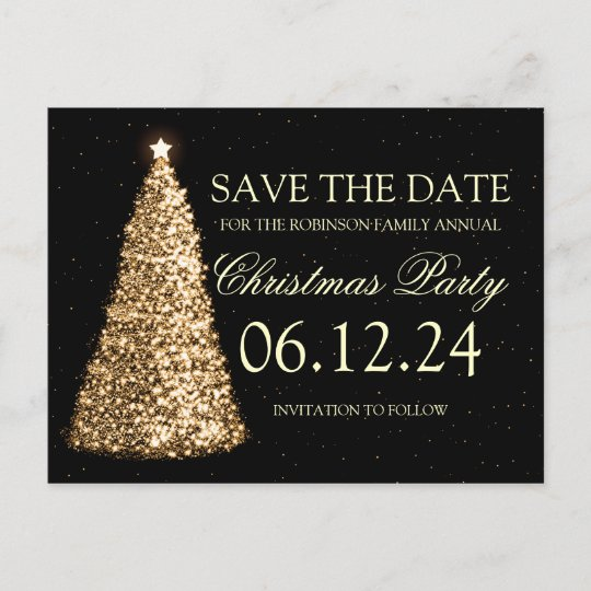 elegant christmas party save the date gold black announcement