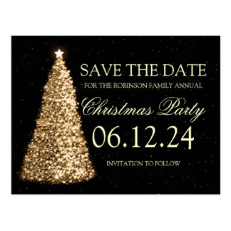 Elegant Christmas Party Save The Date Gold Black Postcard