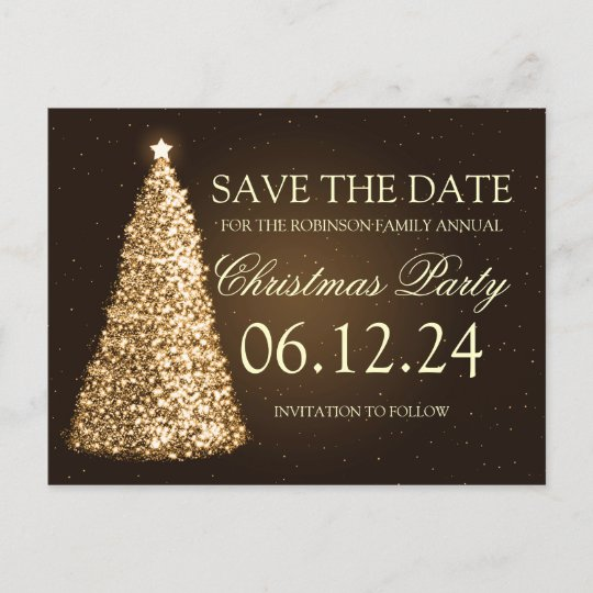 elegant christmas party save the date gold brown announcement