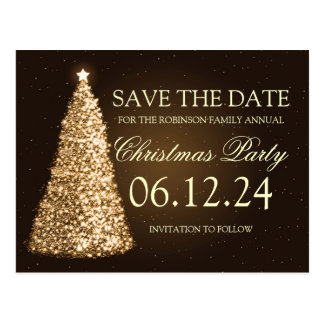 Elegant Christmas Party Save The Date Gold Brown Postcard