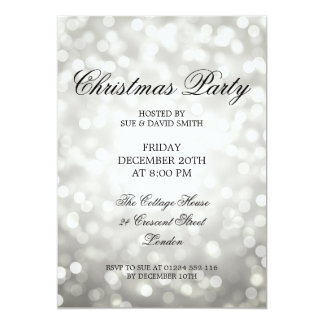 Elegant Christmas Party Silver Glitter Lights Card