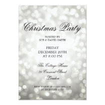 Elegant Christmas Party Silver Glitter Lights Invitation