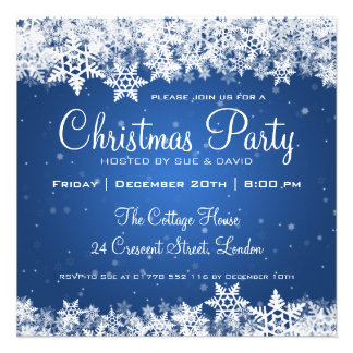 Elegant Christmas Party Snowflakes 2 Blue Custom Invite
