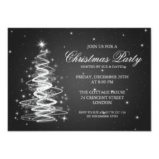 Elegant Christmas Party Sparkling Tree Black 4.5x6.25 Paper Invitation Card