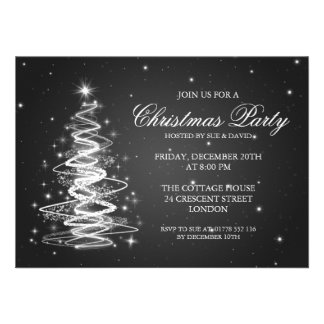 Elegant Christmas Party Sparkling Tree Black Custom Invites
